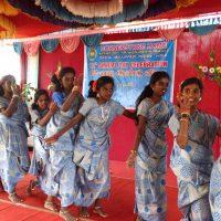 Girls - children perform dance for a village folk song