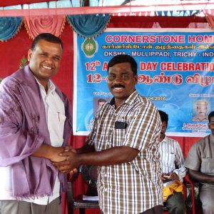 Isaac welcoming Fr.Jayaseelan, Guest of Honour
