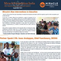 Excerpt from Miracle Foundation Sept 2021 Newsletter